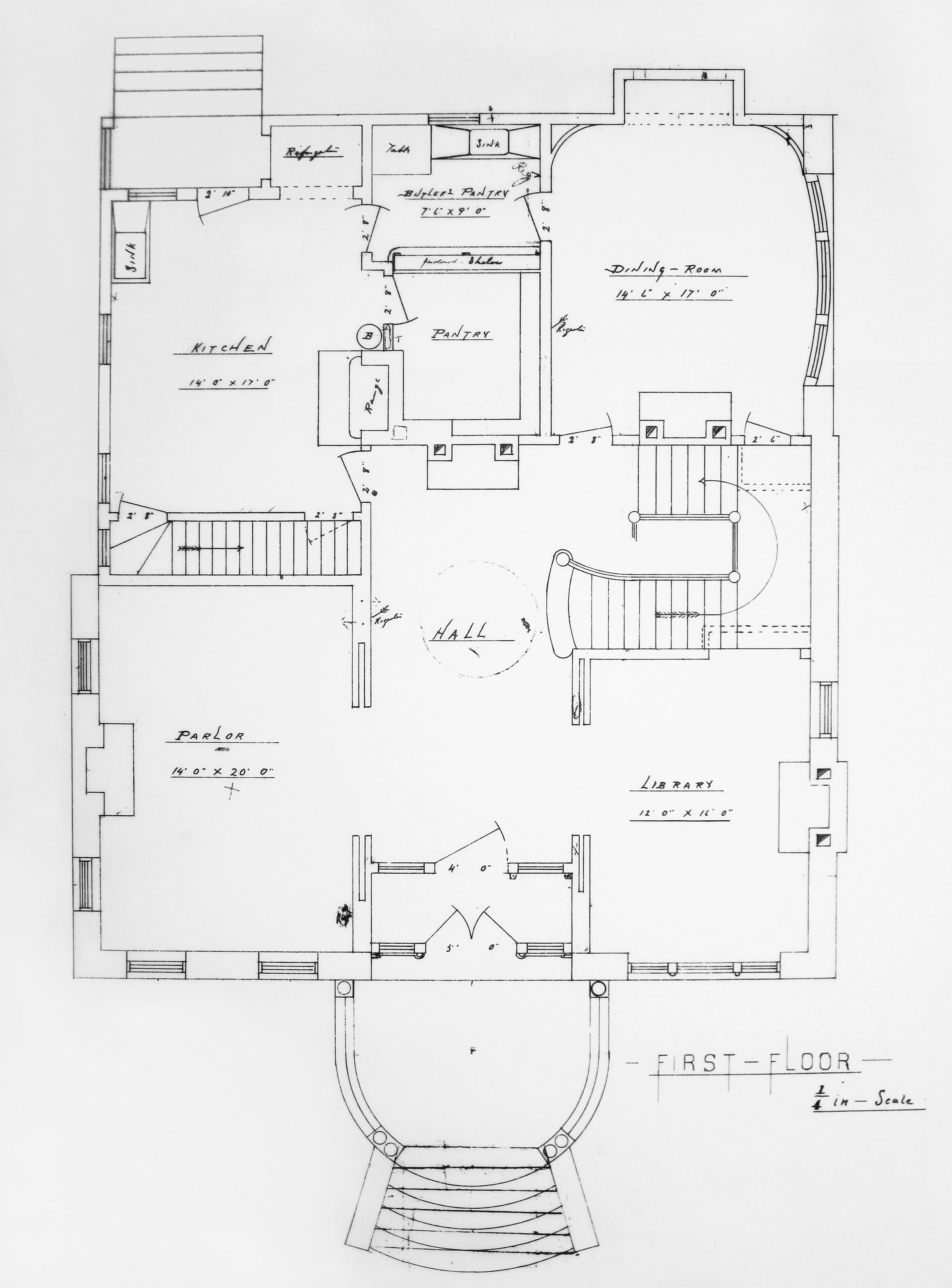 Blueprint of the Hudson House First Floor