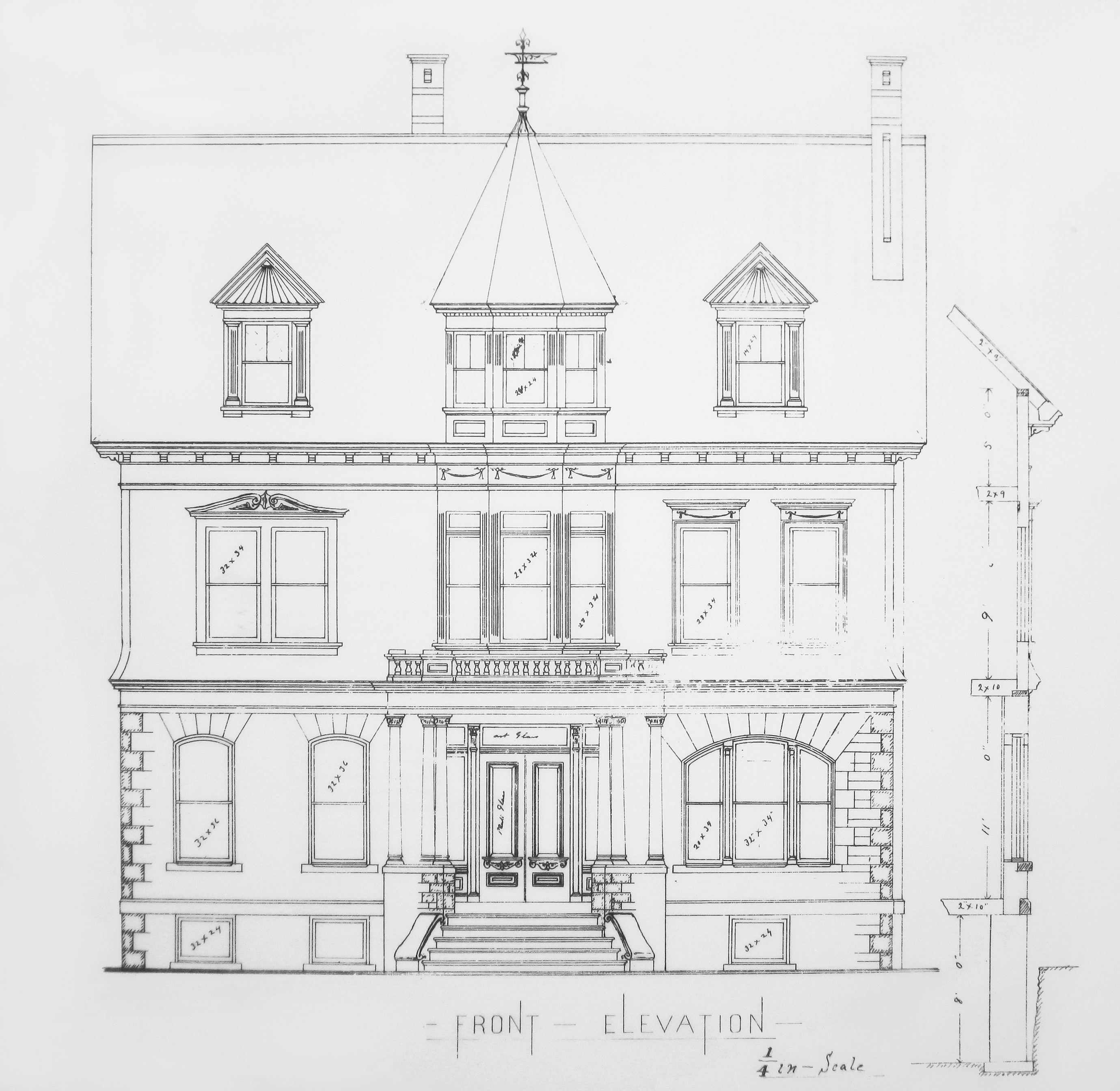 Blueprint of the Hudson House Front Elevation