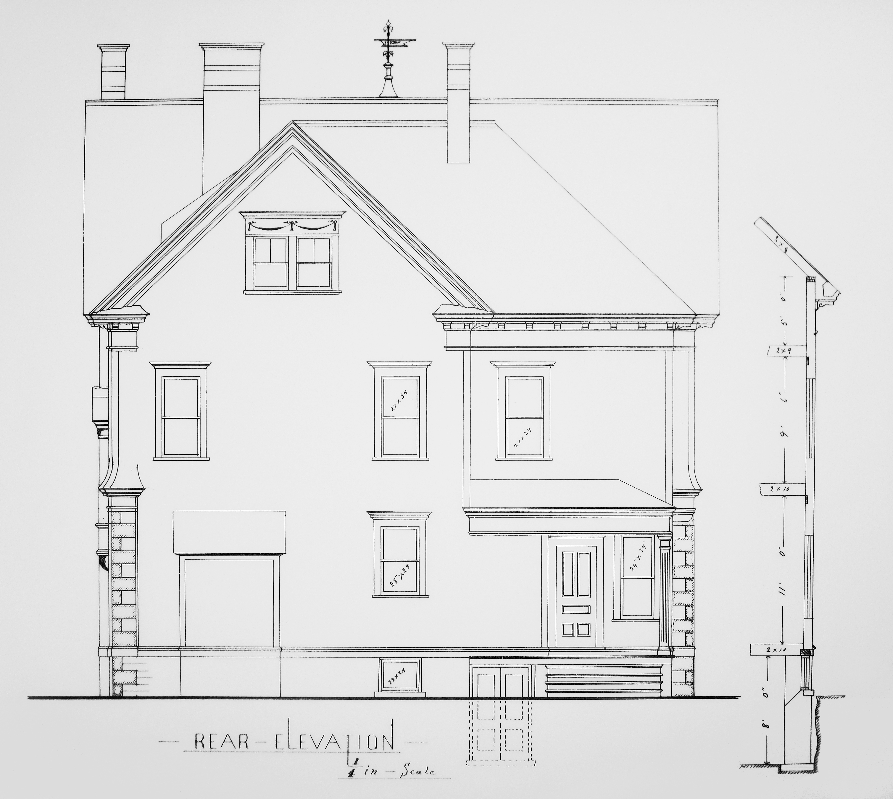 Architectural documents john ashberys nest blueprint gallery rear elevation malvernweather