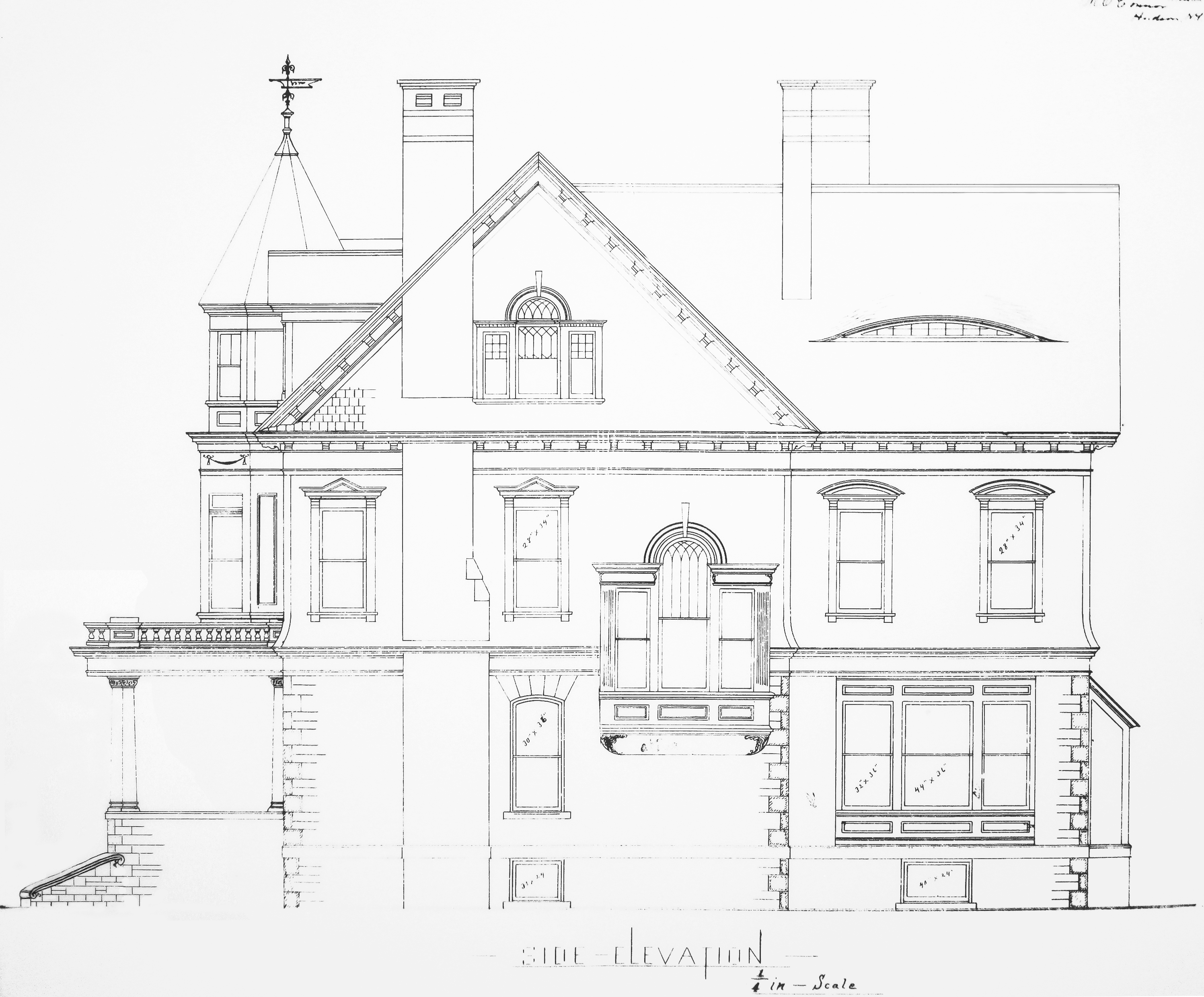 Architectural documents john ashberys nest blueprint gallery side elevation north malvernweather Choice Image